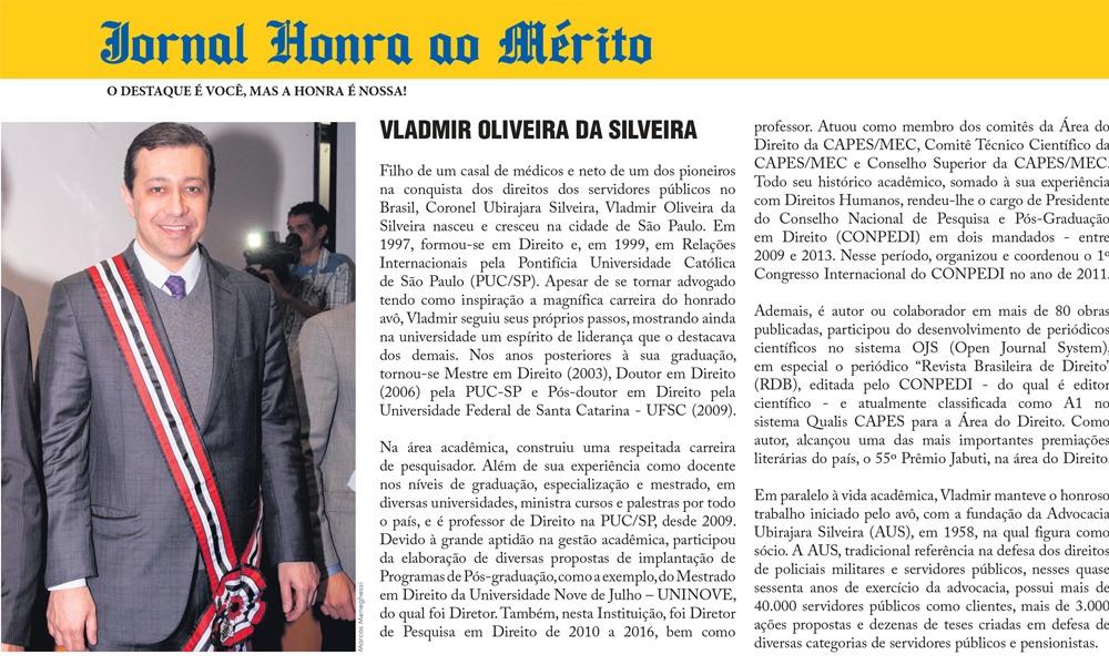 Dr. Vladmir Silveira é homenageado no Jornal Honra ao Mérito